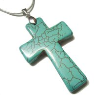 Wholesale Wholesale Craft Stainless Steel Chains - 10pcs lot Turquoise Cross Pendant Charms For DIY Craft Fashion Jewelry Gift Free Shipping 45mm TC2