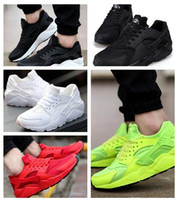 Wholesale Colorful Shoes Girls - 35Huarache Sneakers Big Kids Boys and girls Colorful Black White Huarache Blue Running Shoes Sneakers Triple Huaraches Athletic Sports Shoes