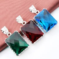 Mix Color 3PCS / Lot Classic Fire Green Quartz Red Quartz Blue Topaz Gemstone Vintage 925 Pendentifs Argent pour Collier Party Party Cadeaux