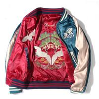 Wholesale Two Color Printing - Two Side Wear Luxury Satin Embroidered Baseball Jacket Women Men Streetwear Jacket Outwear Blue Red Bomber Jacket S-2XL