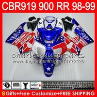 Wholesale Honda Cbr 919rr Fairing - Body For HONDA CBR 919RR CBR900RR CBR919RR 98 99 CBR 900RR 68NO16 Castrol red CBR919 RR CBR900 RR CBR 919 RR 1998 1999 Fairing kit 8Gifts