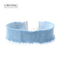 Wholesale Women Stylish Jeans - Wholesale- LWONG Stylish 3CM Width Blue Denim Choker for Women Distressed Denim Jeans Choker Chockers Necklace Jewelry Collier Ras Du Cou