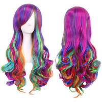 Wholesale Cosplay Wigs Lolita - Women Rainbow Long Curly Wavy Hair Full Cosplay Lolita Party Wig Deluxe