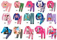 Wholesale Girl Pyjamas - New Pyjamas boy girl kids long sleeve pajama set baby cartoon pajamas sleepwear kids clothes set kids pajamas 6 sets l