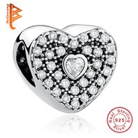 BELAWANG 925 Sterling Silver Heart Shape Charm with White CZ beads sueltos Fit Pandora Charm BraceletsBangles Authentic Jewelry Accessories