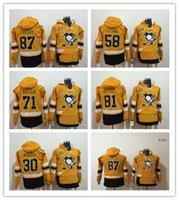 Nuovo arrivo Pittsburgh Penguins Jeresys Felpe con cappuccio # 87 Sidney Crosby 30 Murray 58 Letang 71 Malkin 81 Felpe con cappuccio Hockey con cappuccio Jersey