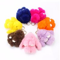 Wholesale Teddy Bear Doll Charm - 2016 New Rex Furs Rabbit Plush Toys Key Ring Keychain Pendant Bag Car Charm Tag Cute Mini Rabbit Toy Doll Real Fur Monster