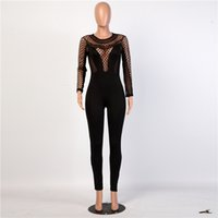 Wholesale See Through Tights For Women - Sexy Mesh Womens Jumpsuits Fashion Black See Through Ladies Rompers for Women Skinny Casual Tight Pants