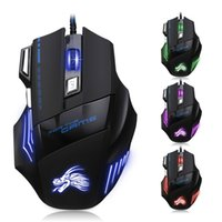 Wholesale Wholesale Computer Mice - gaming mouse wired USB computer mouse game mouse gamer 5500 DPI adjustable 7D LED optical for laptop PC