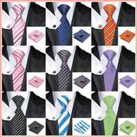 Wholesale Men Striped Neckties - 2015 Fashion Tie Striped 100% Silk Jacquard Woven Neckties gravata corbatas hanky Cufflinks Set for men Formal Wedding Party