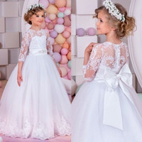 Wholesale Glitz Pageant Dress T - 2017 Long Sleeve Flower Girl Dresses for Weddings First Communion Dresses Girls Pageant Dresses for Little Girls Glitz