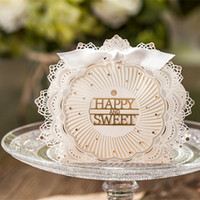 Wholesale Dropship Housing - New Arrival Wedding Favor Boxes Novelty Ivory Lace with Bowknot WISHMADE CB5077 Paper Candy Favors Dropship