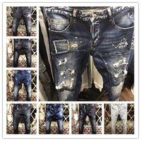 Wholesale Long Coat Trousers - 2017 New fashion New Style Brand DSQ Men's Denim Jean Embroidery Tiger DSQ2 Pants Holes D2 Jeans Zipper Men Pants Trousers