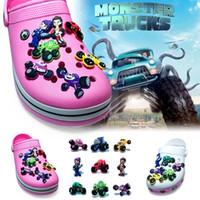 Wholesale Race Trucks - 9Pcs lot Monster Truck Racing PVC Cartoon Shoe Charms Ornaments Buckles Fit for Shoes & Bracelets ,Charm Decoration,Shoe Accessories