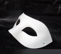 Wholesale Masquerade Masks Blank White - 60pc Halloween solid white half-face DIY Zorro mask Blank paper match mask Novelty Halloween Party masquerade mask #H61