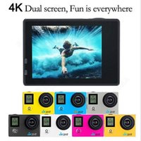 Wholesale pro dv camera online - New K Dual Display Action camera Ultra HD K WiFi P fps Sports Camera LCD D pro sport waterproof Action Cam DV