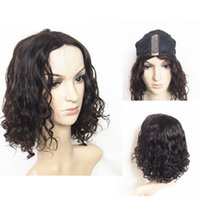 Wholesale Cheap U Part Lace Wigs - 120% Density Kinky Curly Human Hair Wig Wholesale Price Cheap Hand Tied U-Part Lace Front 14inch Deep Curly Lace Wigs