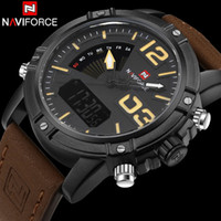 Wholesale Men Leather Watch Dual - Wholesale- men sport watches NAVIFORCE brand leather quartz watch LED digital watch dual display 30M waterproof wristwatches reloj hombre