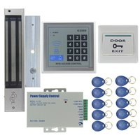 Wholesale Rfid Door Lock Kit - 280KG Magnetic Lock Door Access Control System Kit Set +Rfid Password Keypad +Power +Exit Button For Office Home