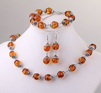 "Wholesale Beads Amber - Fashion Tibet silver round amber beads necklace bracelet earrings set with 0.47 ""DIY manual amber suit"