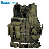 Wholesale Police Belts - Tactical Molle Combat Vest Airsoft camouflage Police Fully adjustable Pistol Holster Adjustable Vest with Belt