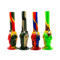 Wholesale colorful buckets - Newest Skull silicone bongs glass bong with Honey bucket oil rig bongs water pipes colorful smoking bubbler pipes free shipping