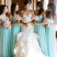 2017 Mint Green Empire Damigelle d'onore Abiti Chiffon Sweetheart Lungo Vintage Maid Of Honor Abiti Vestidos Damas De Honor