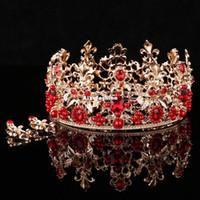 Wholesale bridal earrings red for sale - Group buy Baroque Red Round Crown Earrings Hair Jewelry Wedding Crowns Wedding Hair Accessories Imiate Pearl Bridal Headpieces Tiara Headband