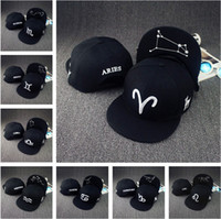 Wholesale 12 constellations hats black topi zodiac hat fitted snapback baseball caps designer basketball Adjustable Flat cap for men women hot