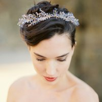 Wholesale Platinum Hair Accessories - Vintage Luxury Acrylic Bridal Wedding Headpieces Clear Blue Jewelry Hair Accessories For Bride Crystal Headwear Handmade Hair Combs