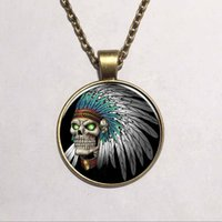 Wholesale Vintage Glass Beaded Necklaces - Hot Newest Style Round Indian Skull Glass pendant necklace vintage bronze art Photo Glass Dome Gothic necklaces Ethnic jewelry