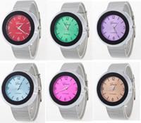 Wholesale Luxury Candy Bracelets - Silk Steel Quartz Watches Candy Light Luxury Geneva Men Women Unisex Casual Smart Dress Silver Jelly Analog Wristwatch Fashion Bracelet Gift