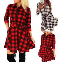 Wholesale Women Xl Flannel Shirt - New Fashion Women Plaid Flannel Short Mini Dress 3 4 Sleeve Shirt Dress Belted Dress H34