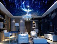 Wholesale Sound Absorbing Materials - custom luxury 3d wallpaper for ceilings Dream sky moon nonwoven 3d ceiling murals wallpaper european