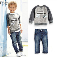 Wholesale Leopard Children Sweater - Fashion Baby Boy 2-Pieces Clothes Sets Children Sweatshirt Jeans Suit Boys Outfits Kids Clothing Casual Infant Sweater Trousers Tee Shirts