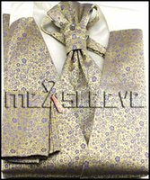 Wholesale Mens Vests Ascot Tie - Wholesale- Mens Suit Tuxedo Dress gold floral bridegroom Vest (vest+ascot tie+cufflinks+handkerchief)