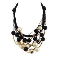 ingrosso colletto in tallone nero-All'ingrosso-2016 Donne gioielli di marca Imitazione collane di perle Moda tubo d'oro perline nere girocolli collane Maxi Collane di dichiarazione