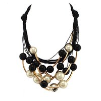 Wholesale Golden Beads Tube - Wholesale-2016 Brand Jewelry Women Imitation Pearl Necklaces Fashion Golden Tube Black Beads Chokers Collar Maxi Statement Necklaces