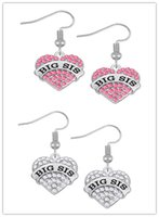 Wholesale Errings Silver - New Style Fashion White and Pink Crystal Heart Drop Earrings BIG SIS Silver Color Dangle Errings Jewelry