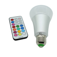Wholesale ktv room decoration - Dimmable 10W E27 RGBW LED Bulb Light With IR Remote Controller Home Decoration Bar Party KTV Mood Ambiance led lamp Lighting