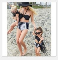 Wholesale Swimsuit Mother - 2017 Family Matching Outfits Mother And Daughter Summer Swimsuit Kids Parent Black Striped Swimwear Baby Girls Clothes Family Look