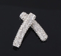Wholesale Connector Sideways Charm - Plated Curved Sideways Pave Crystal Round Bar Bracelet Connector Charm Beads Jewelry Findings