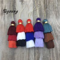 Wholesale Ombre Necklace - Handmade Layered Three Tier Jewelry Tassels Pendant Triple Cotton Tassel Ombre Tiered Earrings Tassels for Jewelry Making MY1489