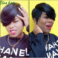 Wholesale African Black Baby - Lace front Straight Human hair wigs Cheap Pixie Cut short with baby hair african hair cut style brazilian Ladies wig for black women