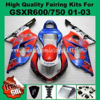 Wholesale K2 Fairing Custom - 9Gifts fairings for SUZUKI GSXR600 01 02 03 GSXR750 2001 2002 2003 K1 GSX-R600 GSX-R750 01 02 03 K2 K3 Fairing kits 6-colors free custom