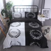 ingrosso prezzi delle biancheria-Biancheria da letto bianca nera di prezzi all'ingrosso Set Mr e Mrs Duvet Covers USA Queen Size 3PCS Bedding