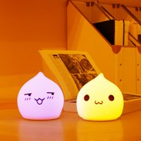 Wholesale Water Night Lights - Wholesale- Colorful Night Light Led Lamp Water droplets Silicone Soft Cartoon Baby Nursery Lamp children Gift bedroom atmosphere Desk Lamps