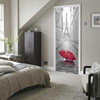papier peint eiffel achat en gros de-3D Porte Autocollant DIY Mural Imitation Paris Tour Eiffel Imperméable Autocollant Porte Autocollants Chambre Home Decor PVC Papier Peint