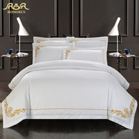 Wholesale Hotel Size Bedding - Wholesale-ROMORUS 100% Cotton Tribute Silk Bedding Set White Embroidered Hotel Duvet Cover Set King Queen Size with Bed Sheet Pillowcase