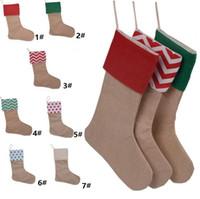 weihnachtsgeschenke großhandel-12 * 18 inch Neue hochwertige Leinwand Weihnachtsstrumpf Geschenk Taschen Weihnachtsstrumpf Weihnachten dekorative Socken Taschen 4543